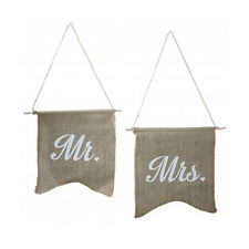 Chair Bunting 2 Stk Mr & Mrs Jute Flagge Fahne Stuhldekoration Hochzeit Vintage