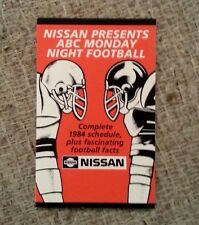 1984 Monday Night Football Schedule from Nissan