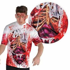 Adult Mens T Shirt Zombie Gory SFX Bloody Guts Top Halloween Fancy Dress Costume
