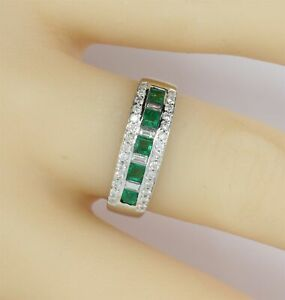 Levian 14K Natural Emerald and Diamond White Gold Estate Ring