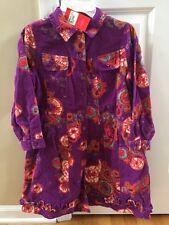 Oilily Dress 128 7 8 Corduroy Purple Orange Sparkle Dress Shirt NWT!