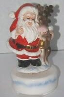 Vtg Christmas Santa Claus & Reindeer Buddy Music Box Sankyo Japan Jingle Bells