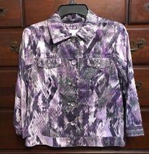 Chico's African Amethyst Atalia Colorful Snake Print Shirt Jacket Sz 0 (4/6) NWT