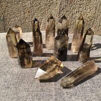 2.2LB Natural Smokey Quartz Obelisk Crystal Tower Point Reiki Healing 8PCS+