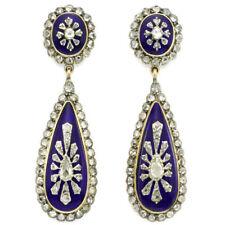 Antique Look 3.50ct. RoseCut Diamond Blue Enamel 925 Silver Earring