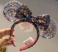 New Disney Park Sparkle Minnie Mickey Ears Rainbow Star Confetti Sequin Headband