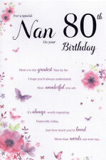 80th NAN BIRTHDAY CARD AGE 80 ~ FLORAL DESIGN QUALITY CARD & LOVELY VERSE