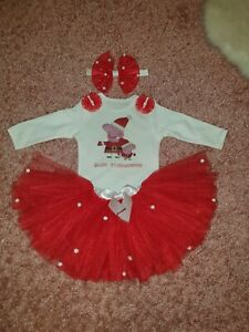 My 1st Christmas baby girl Tutu Outfit Vest  0-3 3-6 6-9 months Peppa Pig  Red