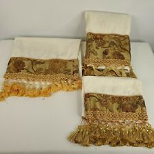 Croscill Harvest Manor Retired Towel Set Bath Hand Gold Beaded Tassels Beaded