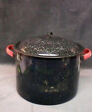 Vintage Black Enamel Ware Stock Pot Pan  Soup Crab Boil Canning w/Extras