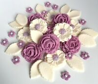 Lavender Wedding Roses Bouquet Cake Decorations Sugar Flowers Cupcake Toppers
