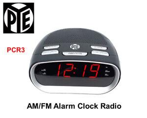 PYE AM/FM Alarm Digital Clock Radio+Red LED Display+Snooze/Sleep Function PCR3