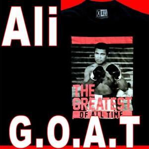 RARE OFFICIAL MUHAMMAD ALI G.O.A.T. T-SHIRT BLACK 100% COTTON BIG 2X 3X 4X 5X