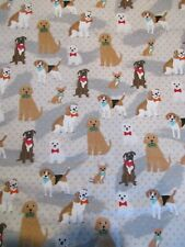 Dogs on Dots Snuggle Cotton Flannel Fabric BTY Gray Polka Dots