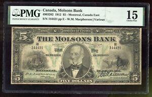 1912 Canada Molsons Bank $5 Montreal PMG 15