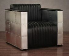 Aluminum Leather Armchairs