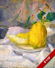 LEMON & MELON FRUIT STILL LIFE FRENCH PAINTING ART REAL CANVAS GICLEE PRINT