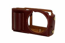 Protective Real Leather Half Camera Case Cover for Sigma DP2M DP2 Merrill Brown