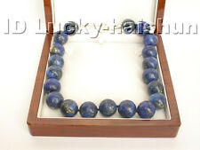 "Genuine 19"" AAA 20MM NATURE ROUND LAPIS LAZULI NECKLACE 925ss j4310"