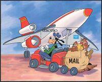 Lesotho 1986 Disney/Plane/Aviation/Mail/GOOFY/Truck/Animation/Cartoons m/s s5539