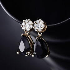 HUCHE Pear Dangle Black Sapphire Crystal Yellow Gold Filled Women Studs Earrings
