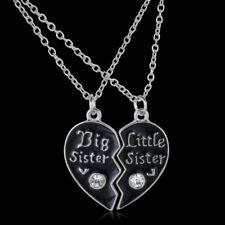 """Best Sister""&""Little Sister"" Crystal Heart Necklace Pendant Friend Jewellery"
