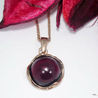 14K Solid ROSE GOLD Round 12 mm RED GARNET Pendant - HANDMADE JEWELRY