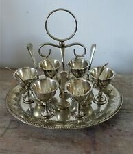 vintage silver plate egg cup caddy for six