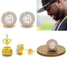 MENS 18K ROUND YELLOW GOLD FINISH LAB DIAMOND SCREW BACK HIP HOP STUD EARRINGS