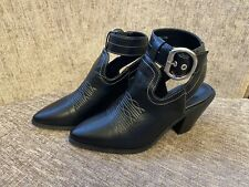 Brand New River Island Buckle Side Black Leather Block Heels Shoes Size 4/37