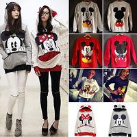 Womens Mickey Mouse Hoodie Sweatshirt Hooded Cartoon Sweater Jumper Top Pullover