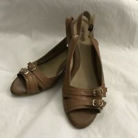 Euro Soft by Sofft Aria Sandals Size 8 M Brown Leather Slingback Wedges Buckles