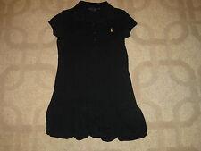 Ralph Lauren Girl Black Short Sleeve Polo Shirt Dress Bubble Bottom sz 5 *EUC