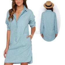 Vogue Womens Long Sleeve Lapel Shirt Dress Casual Denim Blue Short Mini Dresses