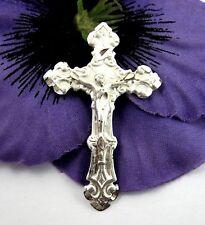 "STERLING Silver CRUCIFIX Pendant Vintage Cross Christian Jesus Madeira 1 1/2"""