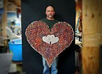 "Metal Wall Art Copper Heart 35"" #1651 Steampunk Christmas Wedding Valentine's"