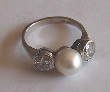 Diamanten-Perlen-Platin-Ring mit 2 Steinen