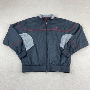 Vintage Jordan Elephant Print Retro 3 Windbreaker Jacket Mens XL Black Red