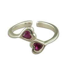 Ring Opposing Pink Crystal Hearts 925 Solid Sterling Silver Toe