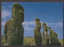 2934 CHILE EASTER ISLAND ISLA DE PASCUA MOAI POSTCARD ARCHAEOLOGY