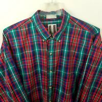 GANT Mens Shirt Sz XL Plaid Checked Button Down Colorful Long Sleeve Red Blue
