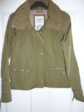 ABERCROMBIE & FITCH Khaki Rain and Wind Resistant Hooded Jacket Size XS NWT