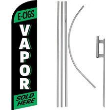 E-Cig Vapor Sold Here Green/Black Windless Banner Flag & 16' Flagpole Kit/Ground