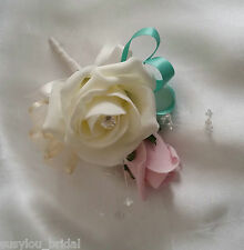 Isabella Vintage Corsage  Ivory Pink Turquoise Diamante Wedding Pin On Corsage