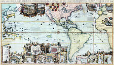 1719 Map The Americas Pacific Ocean Henri Abraham Chatelain Vintage Wall Poster
