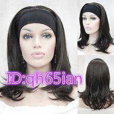 Ladies Dritto Medio Marrone Scuro Donna giornaliero 3/4 metà Parrucche parrucca con fascia per capelli