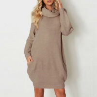 Women's Knitted Turtleneck Long Sleeve Solid Pocket Sweater Pullover Mini Dress