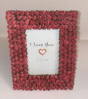 "New I Love You Fuchsia FreeStanding Rectangle Photo Frame 3.5""X5"" Flowers Desi"