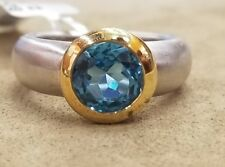 18K YELLOW WHITE GOLD  RING 2.45CT. GEM ROUND  BLUE TOPAZ