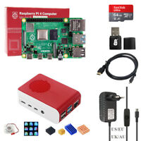 Raspberry Pi 4 B 2/4GB RAM LED Cooling Fan Case DIY Kit + Power Supply SD Card